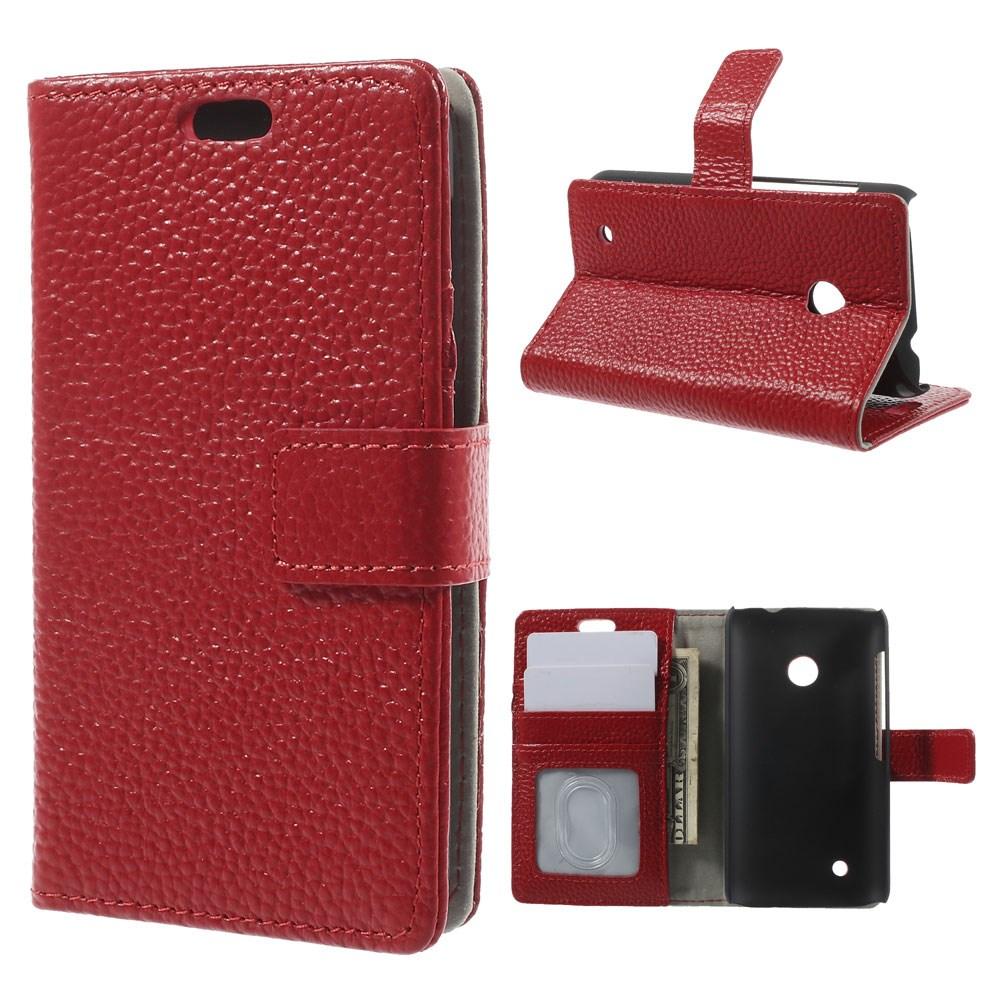 Cowhide (Röd) Nokia Lumia 530 Flip-Fodral (Äkta Läder)