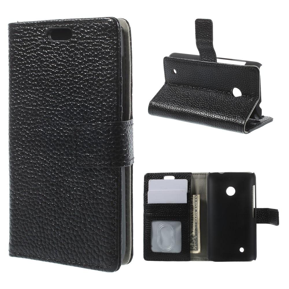 Cowhide (Svart) Nokia Lumia 530 Flip-Fodral (Äkta Läder)
