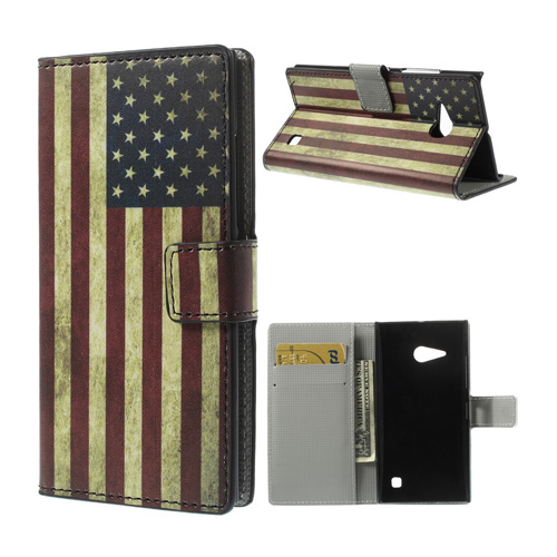Moberg (Vintage USA Flagga) Nokia Lumia 730 Läder Flip Fodral