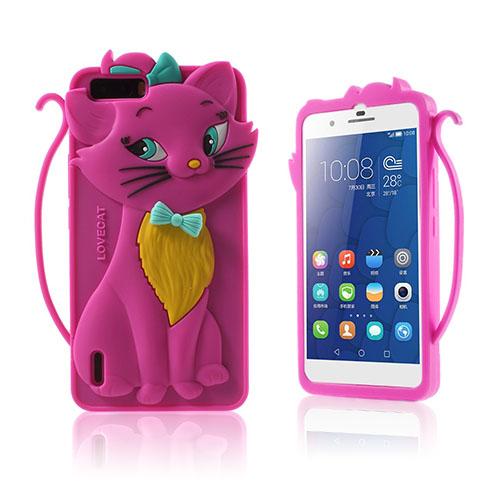 3D Katt Huawei Honor 6 Skal – Varm Rosa