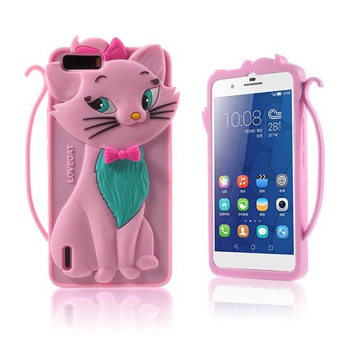 3D Katt Huawei Honor 6 Skal – Rosa