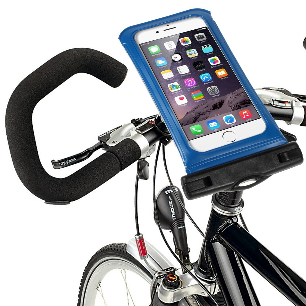 """IPX8 Vattentät Väska med Cykelhållare till 4,7"""" Smartphones Storlek: 14,5 x 7cm – Blå"""