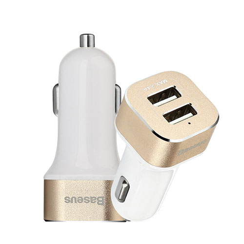 BASEUS Smart Voyage Series 2-Port Universell USB Billaddare – Guld / Vit