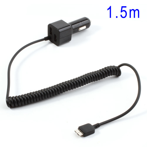 Micro-USB 3.0 Billaddare med 2 USB-Uttag (Svart)
