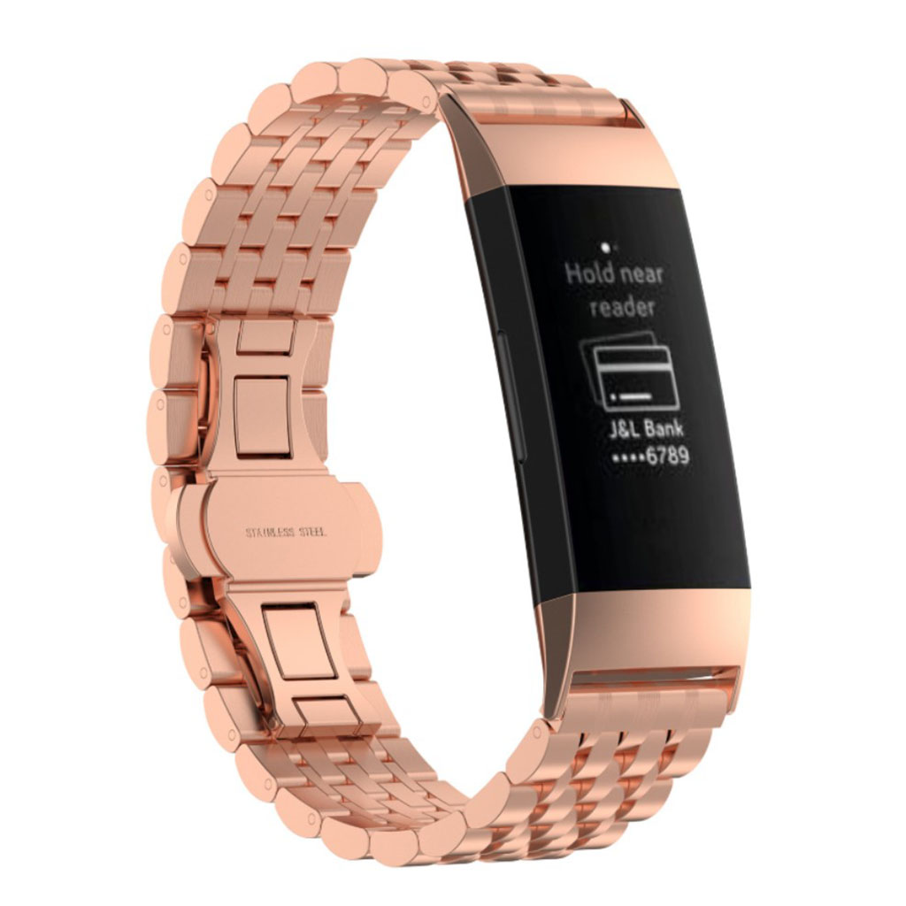 Fitbit Charge 3 stylish stainless steel watch band - Rose Gold